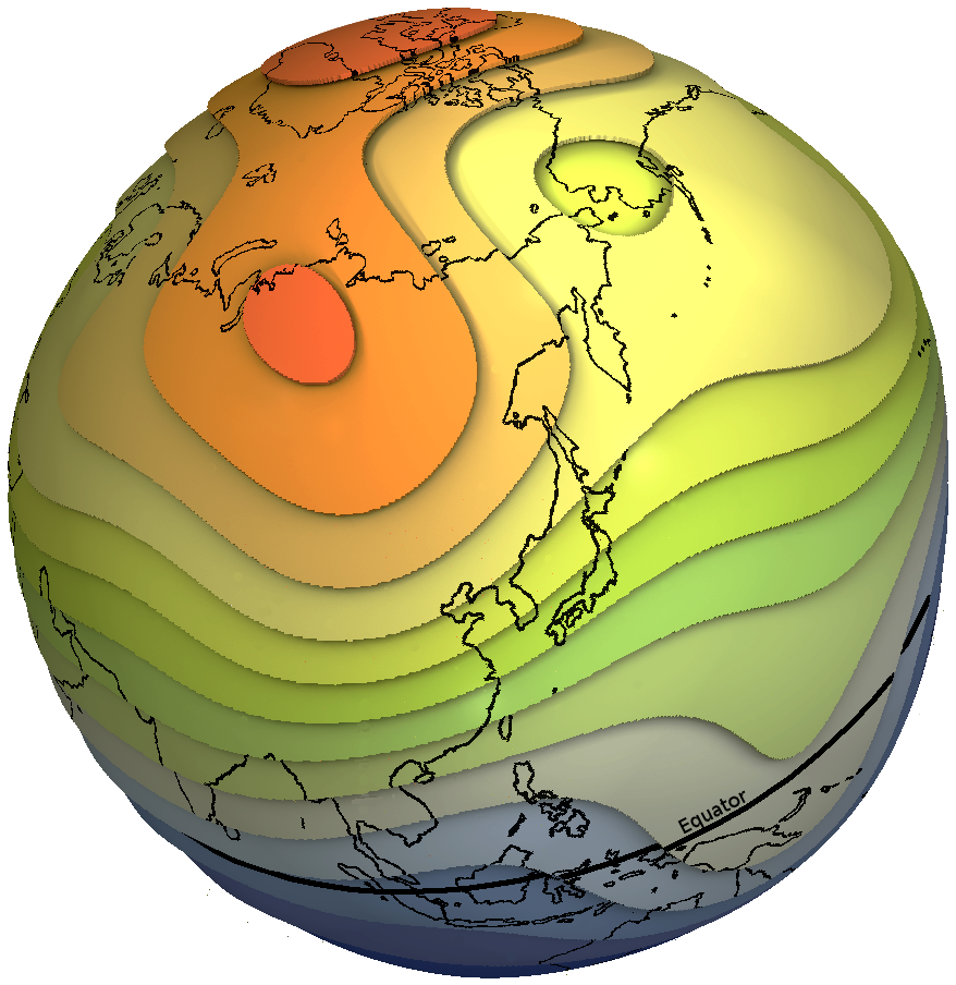 Magnetic Anomaly Map Of The World.Geomagnetic Field Models